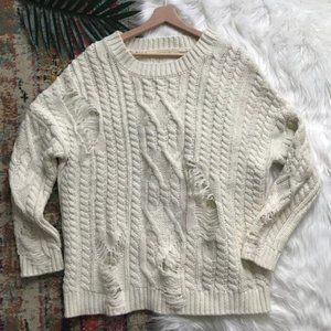 JOA • Oversized Distressed Cable Knit Sweater
